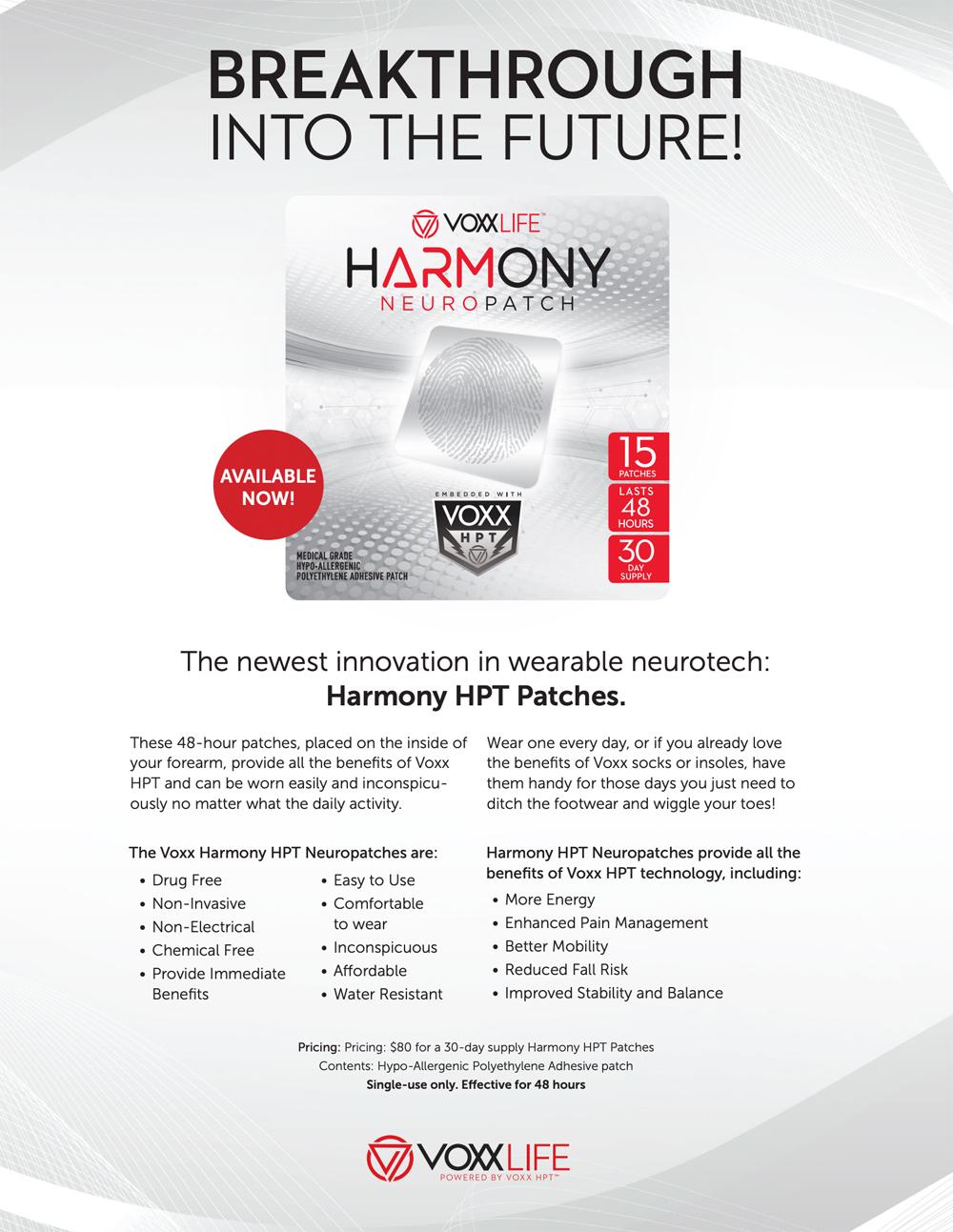 Voxxlife | Harmony Neuro Patch | Info sheet